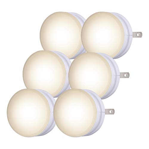 Lights by Night, White Mini LED Night Light, 6 Pack, Plug-In, Dusk to Dawn, Compact, UL-Listed, Ideal for Office, Bathroom, Bedroom, Nursery, Hallway, Kitchen, 45176, 6 Count