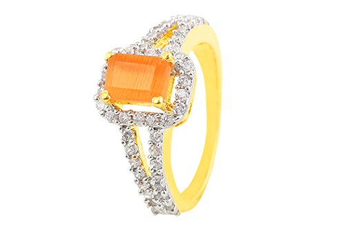 Fasherati CZ Borchie Arancione Pietra Anello per Le Donne