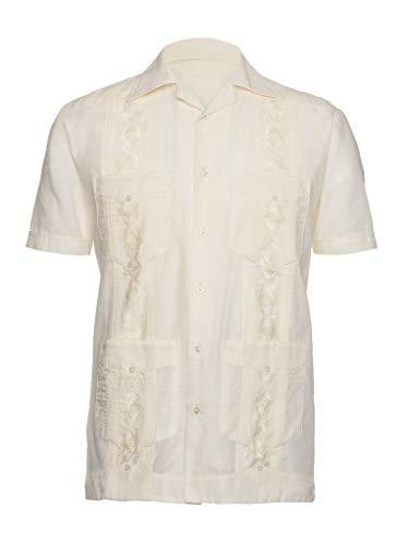 Guayabera-Shirts für Herren, bestickt, Guayaberas para Hombres -  Elfenbein -  Mittel