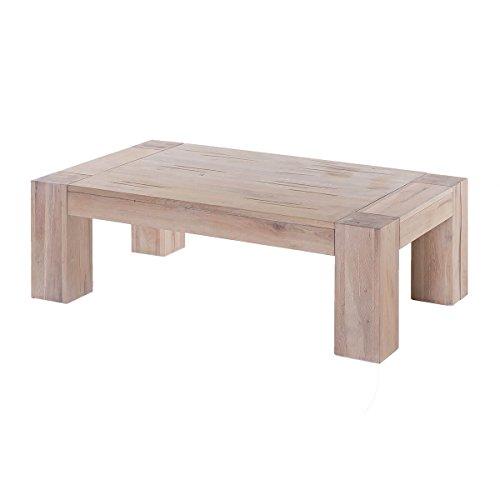 MÖBEL IDEAL Couchtisch Wohnzimmertisch Stubentisch Tisch Granby 140x70, Massivholz Holz Eiche massiv Balkeneiche White Wash, Breite 140 cm, Tiefe 70 cm, Höhe 40 cm