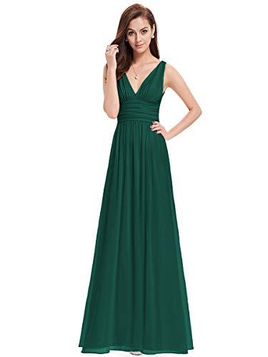 Ever-Pretty Vestiti da Cerimonia Donna Linea ad A Stile Impero Chiffon Scollo a V Senza Maniche Verde Scuro 46