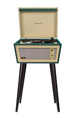Crosley CR6233D-RE Dansette Bermuda Portable Turntable with Aux-in and Bluetooth, Red (Green)