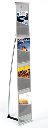 Magazine Stand, Rolls Up and is Portable, (4) Pockets for 8-1/2� x 11� Literature � 54� Tall