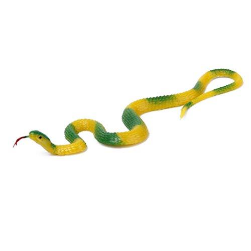 ZYCX123 Snake Silikon Spielzeug weichen Kunststoff Pretend Play Trick Spielzeug für Garten Prank Props 22 * ??1,2 cm Gelb Grün