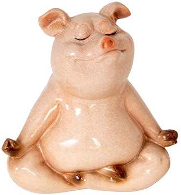 Yoga Meditating Pig Figurine Set of 2