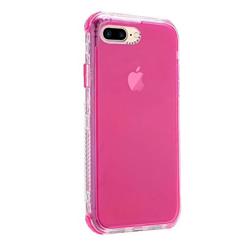 Rdyi6ba8 Funda Compatible con iPhone 8 Plus (5.5''), Carcasa con Parachoques de Silicona de 360 Grados,[Ligero] Panel Posterior Transparente, para iPhone 7 Plus, Rojo