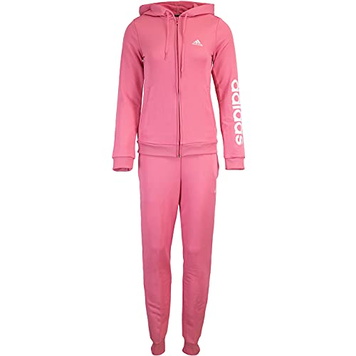 adidas Linear Track Suit - Chándal para mujer, rosa y blanco, S