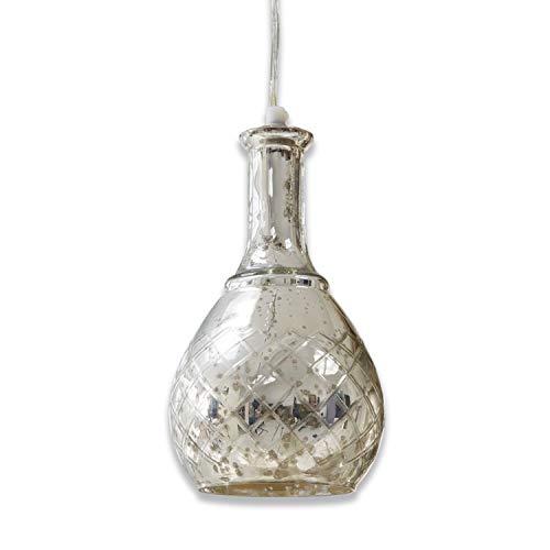 Loberon Hängelampe Élodie, Aluminium, Glas, H/Ø 26/14 cm, silber, E14, max. 25 Watt, A++ bis E