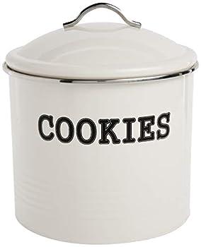 Home Basics Tin Cover Ivory Cookie Jar