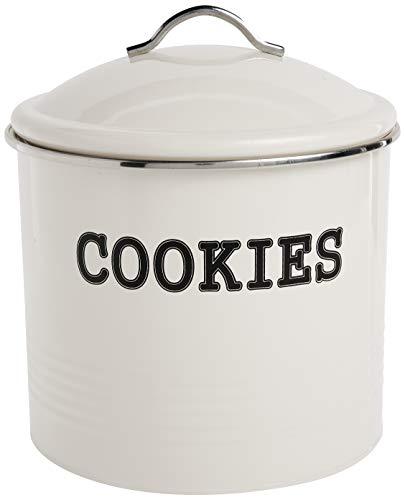 Home Basics Tin Cover, Ivory Cookie Jar