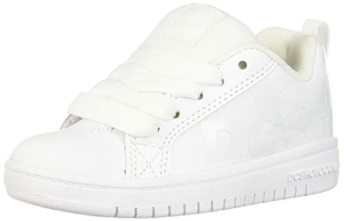 DC Girls' Court Graffik SE Skate Shoe, White/Camo, 2.5 M M US Big Kid