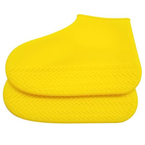 SUPVOX Chaussure imperméable réutilisable Couvre Chaussure de Pluie antidérapante Silicone Chaussettes Pluie pour Pluie Neige Taille l Jaune