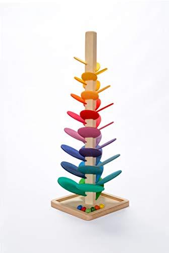 Natureich Montessori Material Kugelbahn Turm zum Klänge Lernen Holz Blättchen ab 3 Jahre Motorik Entwicklung der Kinder Bunt - Made in Polen (47 cm)