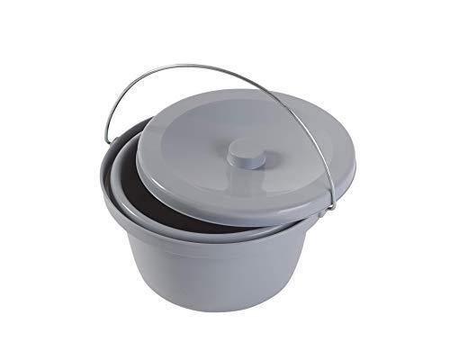 Toilettenstuhleimer Grau, universal - Toiletteneimer Duschtoilettenstuhl Topf
