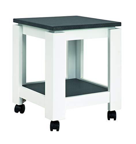 Haku Möbel 42568 Mesa Auxiliar con Ruedas, MDM, granito blanco, 35 x 35 x 45 cm