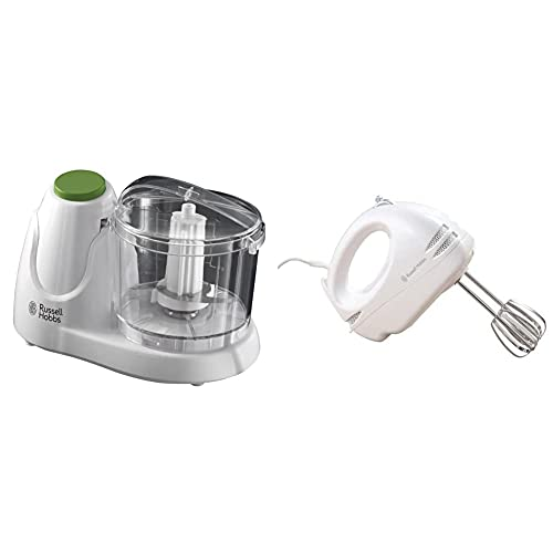 Russell Hobbs Mini Chopper 22220, 130 W - White & Food Collection Hand Mixer with 6 Speed 14451, 125 W - White