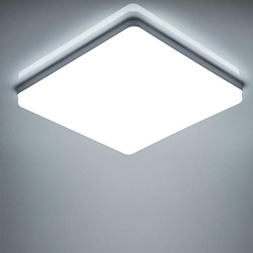 Yafido LED Lámpara de Techo Moderna 48W Plafón Led Cuadrado Ultra Delgado Downlight Blanco Frío 6500K 4320LM adecuada para Cocina Balcón Dormitorio Corredor Sala de Estar 30 * 30 * 4cm No-Regulable