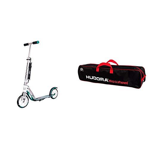 HUDORA 14751 BigWheel 205-Das Original mit RX Pro Technologie-Tret-Roller klappbar-City-Scooter, türkis & Scooter-Tasche Big Wheel 200-250, schwarz/rot, 14491
