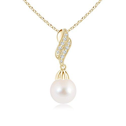 Vintage perla pendenti collana con diamante Flame, Oro giallo, cod. ANG-P-SP0973FWPRD-YG-AAA-9