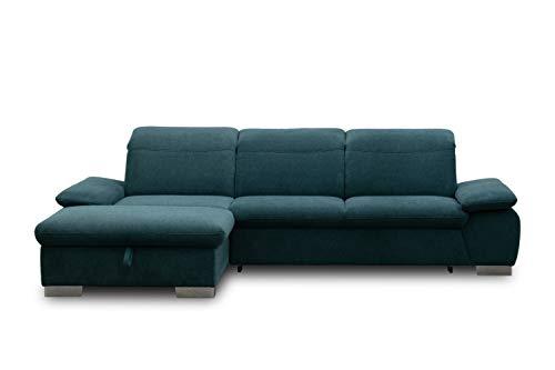 DOMO. collection Maven Ecksofa, Sofa mit Rückenfunktion, Polsterecke mit Federkern und Relaxfunktion, türkis, 286x184x77