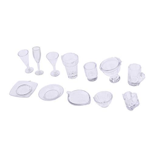 non-brand 13 Piezas Sets de Vajillas Cristales Utensilio de Cocina en Miniatura Decoración para Casa de Muñecas 1/12