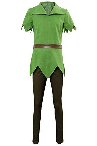 lancoszp Hombres Mujeres Disfraz de Peter Pelicula Cosplay Hada Superheroe Vestido Camiseta de Ante Verde