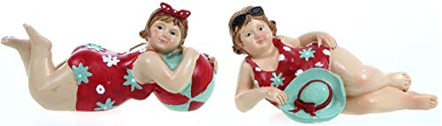 2 Badenixen - rot - liegend 11 cm mit Ball oder Hut im Badeanzug für Tisch Kommode Schrank Mädchen Rubensfrau mollige Dame Dicke Frau Badezimmer Figur