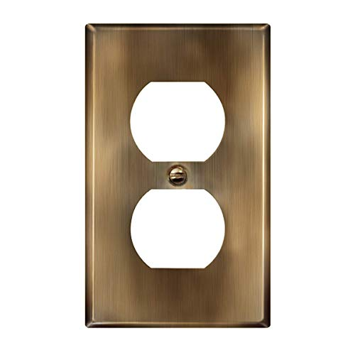 ENERLITES Duplex Receptacle Metal Wall Plate, Stainless Steel Outlet Cover, Corrosion Resistant, Standard Size 1-Gang 4.50