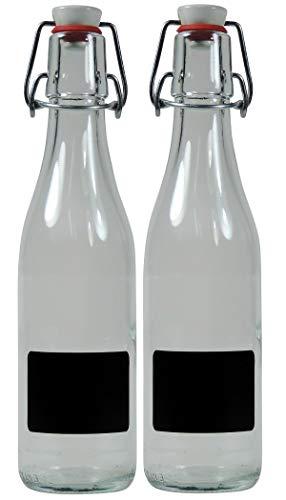 Viva Haushaltswaren - 2 x kleine Glasflasche 330 ml leer mit Bügelverschluss aus Porzellan zum Befüllen, als transparente Saftflasche und Ölflasche verwendbar (inkl. 2 Beschriftungsetiketten)