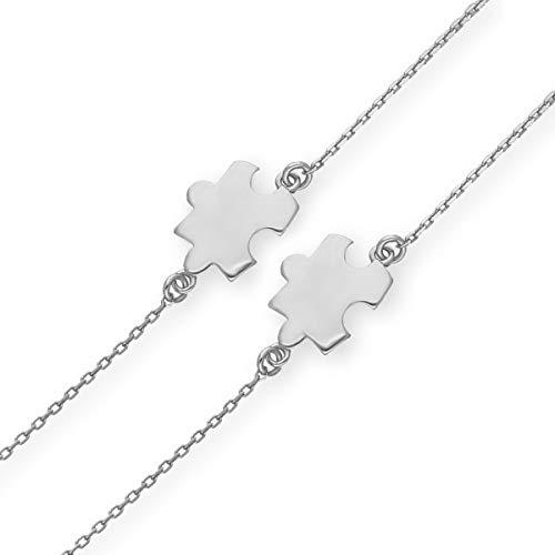 Butterfly Vriendschapsarmband voor kinderen, twee armbanden van zilver, puzzel, helder lengte, flexibel satijnen zakje voor beste vrienden