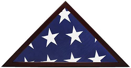 Smashed Banana Vitrine mit amerikanischer Flagge, Holzrahmen, passend für 12,7 x 24,6 cm gefaltete Flagge, Mahagoni/Kirsche, Veteranen-Beerdigungsgedächtnis, Glasfront