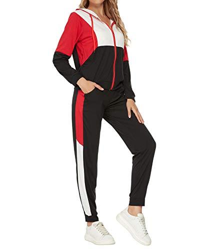 Unifizz Damen Trainingsanzug Jogginganzug Sportanzug 2 Teiler Outfit Frauen Lange Ärmel Hoodie Sportjacke mit Sporthose Hose Tracksuit Freizeitanzug