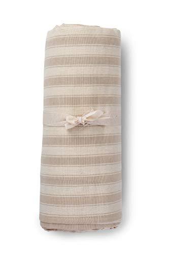 HomeLife - Narzuta na sofę z paskami, wyprodukowana we Włoszech, uniwersalna narzuta z bawełny, Granfoulard narzuta na łóżko podwójne [260 x 280], narzuta w kolorze beżowym, na łóżko podwójne