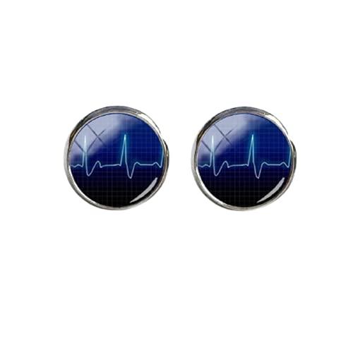 Amor corazón redondo pendiente con corazón pendientes alta calidad joyería hecha a mano para hombre puño botón acero inoxidable