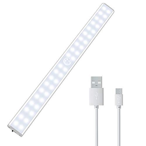 PAIRIER 40 LED Luz Armario Luz Nocturna con Sensor Movimiento USB Recargable Cinta Adhesiva Magnética 4 Modos para Cocina Pasillo