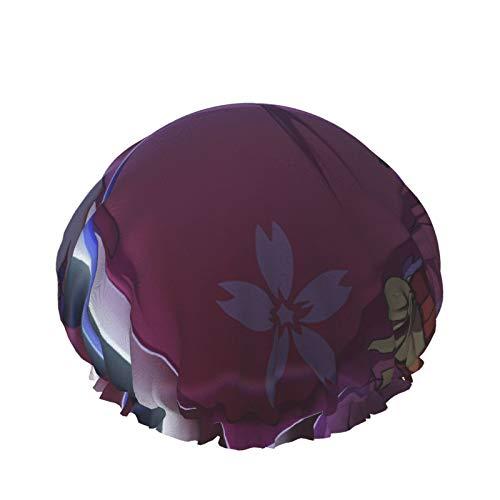 Kabaneri Of The Iron Fortress Gorro de ducha de baño ajustable Doble capa impermeable Sombrero de ducha de baño Protección del cabello Reutilizable para mujeres Hombres