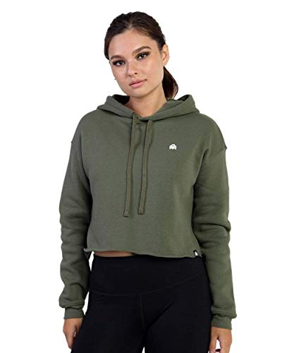 INTO THE AM Basic Women's Cropped Hoodie (Olive, Small)