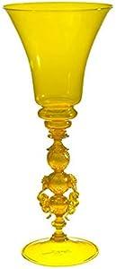 YourMurano - Copa de cristal de Murano, diseño de hoja amarilla y dorada, copa de tallo decorada, hecha a mano, marca de origen garantizada, Gagini