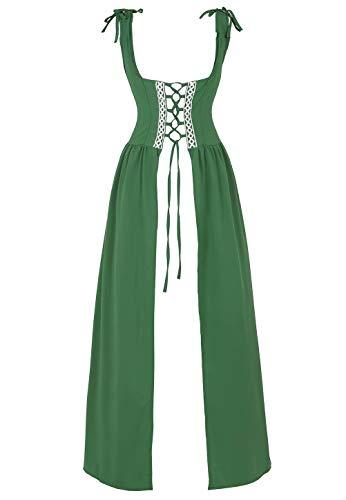 renacentista Vestido Medieval Mujer Vintage Victoriano gotico Manga Larga de Llamarada Disfraz Princesa Verde 2XL