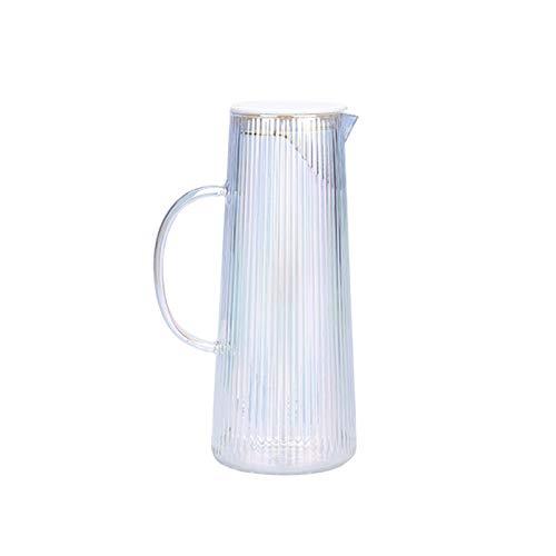 hkwshop Jarra de Agua Placa de Vidrio de patrón Vertical con compción de té de Acero Inoxidable Desmontable Café de Vidrio con asa para Evitar Las Manos Calientes Tetera para té Helado (Color : C)