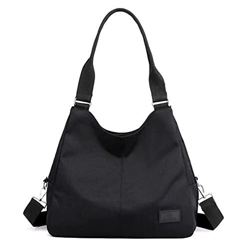 MAJFK Bolso bandolera para mujer de compras, bolso de mensajero casual de nailon de gran capacidad, color negro