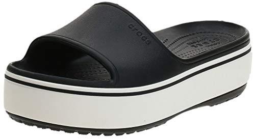 Crocs Platform Slide Sandal, Black/White, 6 US Women / 4 US Men