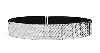 Waist Elastic Metal Belt Leather Metallic Bling Gold Plate Wide for Women (silver)
