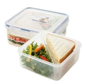 LOCK & LOCK Frischhaltedosen für Sandwiches – aus Kunststoff – quadratisch – Lunchbox mit Trennfach – 1,2 l