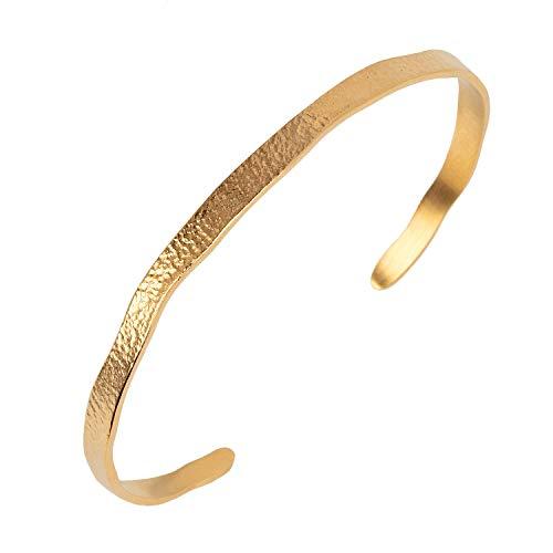 Pernille Corydon Armreif Gold Damen - Armband Moonscape Bracelet Gehämmert Hinten Offen Silber Vergoldet - B209g