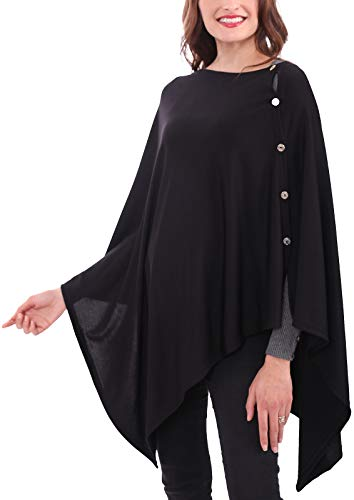 MissShorthair Women's Lightweight Knitted Poncho Cape Shawl Plus Size (Black)