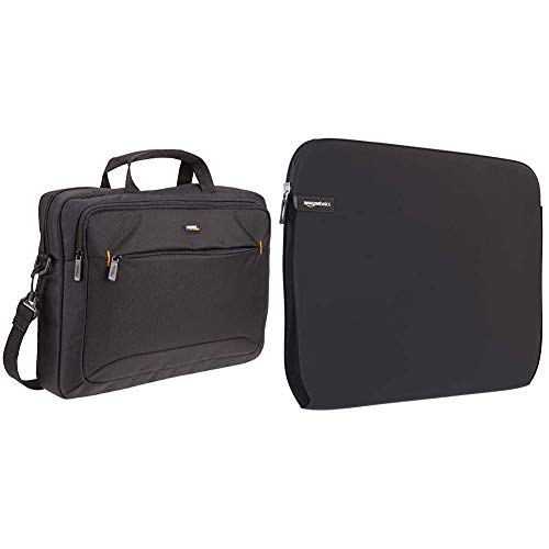 AmazonBasics 15.6-Inch(40 cm) Laptop Computer and Tablet Shoulder Bag Carrying Case, Black, 1-Pack & Laptop Sleeve for 15-Inch to 15.6-Inch Laptop/MacBook Pro/MacBook Pro with Retina Display