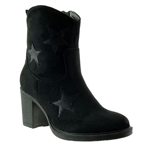 Angkorly - Damen Schuhe Stiefeletten - Santiags Cowboy - Stern Blockabsatz high Heel 7.5 cm - Schwarz 31 WD1750 T 37