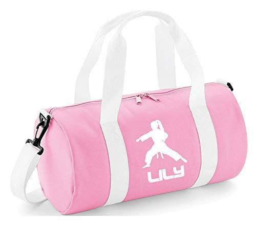 Personalisierbare Tasche für Kinder, mit Karate-/Fitness-Thema, Baby Pink & White / White Print, 40 x 20 x 20cm