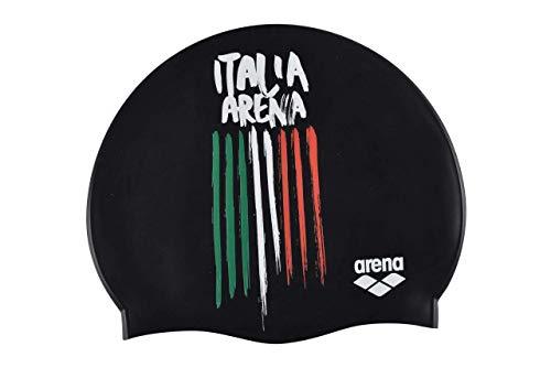 Arena Flags Silicone cap, Cuffie da Nuoto Unisex Adulto, Nero (Italia), Taglia Unica